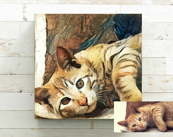 Pet Memorial Gift - Canvas Art Print - Custom Pet Portrait From Photo - Pet Loss Gift - Pet Sympathy Gift - Cat Lover Gift - Cat Art Dog Art