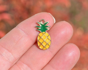 BULK 20 Gold with Yellow Enamel Pineapple Charms GC2137