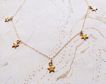 Gold Star Necklace Layering Enchanted Gifts for Her by MinouBazaar