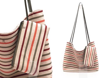 Large Yoga tote bag in striped fabric burgundy, dark green and orange on beige with handles and shoulder strap in olive green.