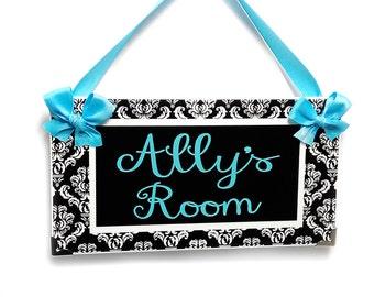 black and white damask girls bedroom door sign -  blue lettering plaque decor - P2071