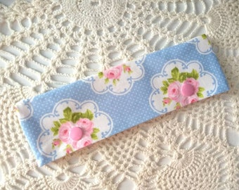 "Pretty Pink and Blue Floral Roses DPN Cozy for 6-7"" Knitting Needles!"