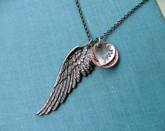 Carried To Heaven On Angels Wings Custom Hand Stamped Limited Edition Memorial Necklace by MyBella - Limited Edition Item