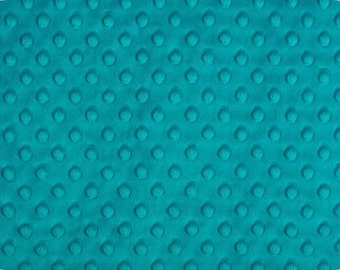 Teal Minky - Teal Dimple Dot by Shannon Fabrics 1 FAT Half  30 by 36 inches