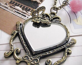 mirror, mirror on the wall necklace. vintage style heart framed mirror necklace with rose and butterfly
