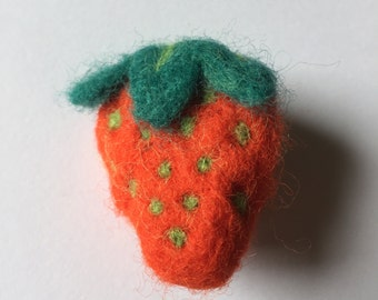 Needle Felted Strawberry Fruit Brooch Pin Badge
