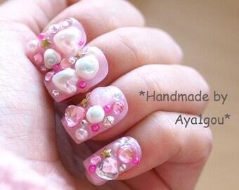 Fairy kei, dope nail, pink nail, fake nail, kawaii nail, deco nail, acrylic nail, 3D nail, pastel fashion, Harajuku, lolita fashion, decora