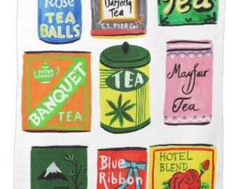 vintage tea tin Tea towel Kitchen towel