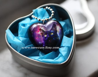 Your Pet Photo Necklace, Custom Pet Portrait Jewelry, Gift Idea for Pet Lover, Bespoke Cat or Dog Galaxy Necklace, Handcrafted by isewcute