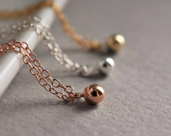One bead necklace, drop bead necklace, tiny bead necklace, beaded necklace, ball necklace, tiny ball necklace, one ball drop necklace. pease