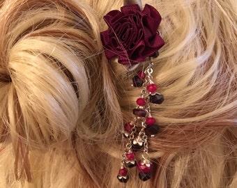 Hair Stick Shawl Scarf Sweater pin Rose and Gemstones
