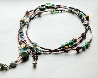 Extra long beaded lariat convertible necklace or bracelet / beaded wrap necklace / Sundance style / colorful beaded / gypsy boho indie style