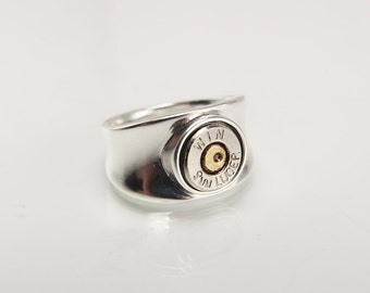 Sterling Silver Bullet Ring - Silver Bullet Jewelry - Sterling Silver Ring - Rings For Men - Gifts For Him - 9mm Bullet - Statement Ring