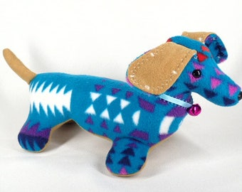 Morgan stuffed dog etsy plush navajo blanket dog turquoise dachshund stuffed animal by native american navajo artist delsey morgan publicscrutiny Choice Image