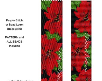 Delica Peyote Stitch Bracelet KIT P4 - Includes Pattern and Beads - Peyote Stitch or Bead Loom Bracelet Kit - Poinsettia Bracelet Kit