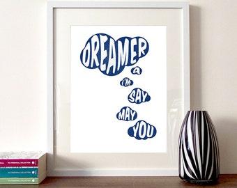 Dreamer Typographic Print, motivational quote, quote print, inspirational quote, daydreaming, clouds, typography print, quote poster print