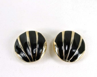 Vintage Enameled Clip On Earrings Black and Gold Tone Round Marked 2085