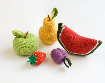 Сrochet Baby Rattles Fruit, Set of 5 - apple, pear, srawberry, plum, watermelon - crocheted toys, ecofriendly - FrejaTtoys