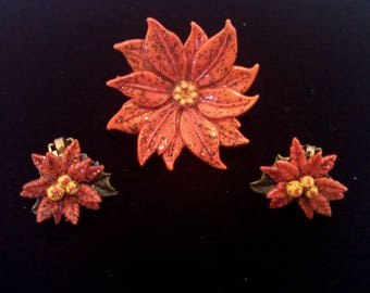 Vintage Brooch and Earrings Set, Red Lucite Poinsettia Brooch with Clip Earrings, Christmas Demi Parure, Circa 1940s, Includes Gift Box