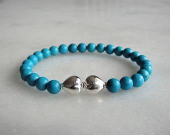 Genuine turquoise bracelet with sterling silver heart-shaped bead / Love bracelet love gift womens bracelet romantic gifts heart