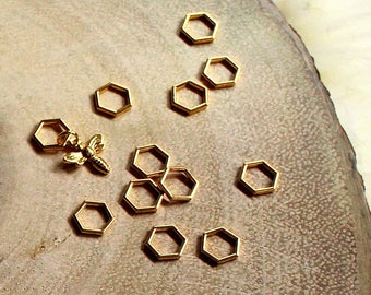 Small Beekeepers Stitch Markers for Knitting - Gold Hexagon Closed Ring Markers - Knitting Notions - Set of 12