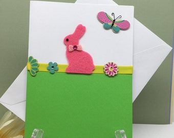 Easter Card, Bunny Easter Card, Holiday Card, Staionary Card, Blank Inside Card