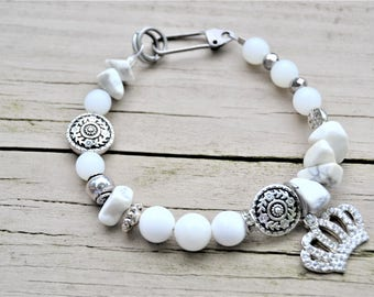 WHITE MIXED BEAD Rhinestone Crown Bracelet Silver Accent Beads