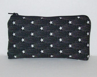 "Pipe Pouch, Pipe Bag, Pipe Case, Padded Pouch, Shooting Stars Bag, Weed, Cute Pouch, Black White Bag, Star Pouch, Stoner Gifts - 5.5"" SMALL"