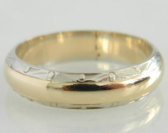 Vintage 14K White & Yellow Gold Wedding Band size 6.75