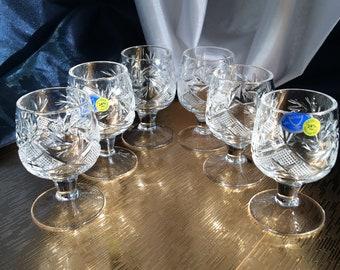 Crystal Glass Set of 6  Vodka  Cognac Brandy Whiskey 2 oz  Shot Glass Hand Cut  Neman Vintage European Design Crystal Glass