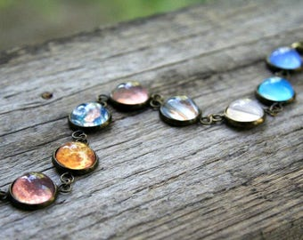 Planet bracelet, bracelet with planets, solar system bracelet, solar system jewelry, galaxy bracelet, celestial bracelet, celestial jewelry