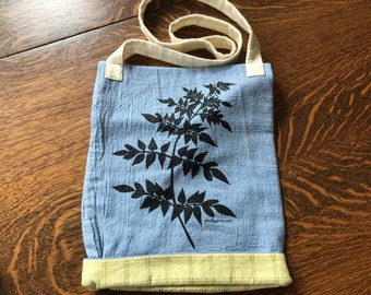 Silkscreened Wysteria Cross Body Bag