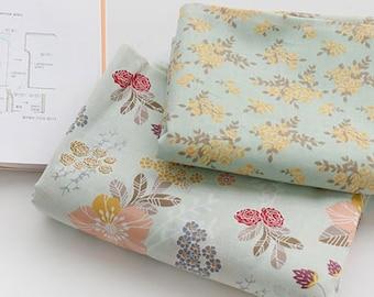 Flowers 100% cotton fabric / BY THE YARD / Asa mini yellow Floral flower / Lightweight / Ykfabrics JAS10*