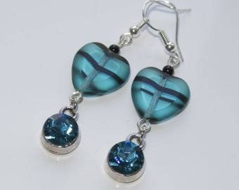 Blue heart resin earrings