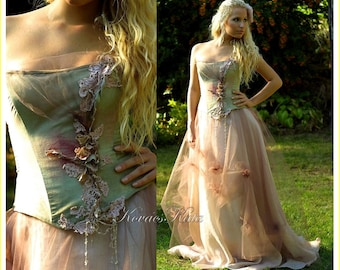 Magical Woodland Fairy Silk Fantasy Corset Wedding Gown OOAK - Lily - Made to order