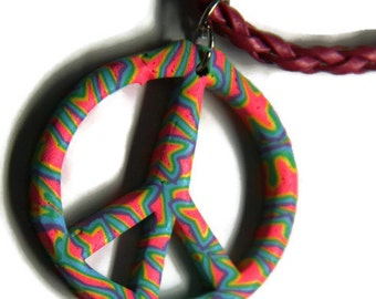 Psychedelic Peace Sign Necklace, Handmade Peace Sign Necklace, Polymer Clay Peace Sign Necklace, peace symbol necklace