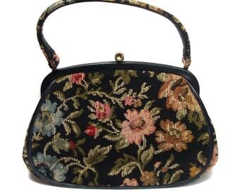 vintage 1960's floral tapestry purse / JR Florida / floral handbag / needlepoint / carpet bag / vintage purse / vintage accessories