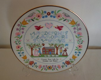 """Vintage """"Count Your Life"""" Plate by Artist Linda Griffith"""