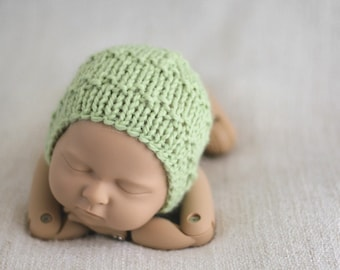 Newborn Bonnet, Photo Prop Bonnet, Ready To Ship Bonnet, Green Bonnet, Baby girl bonnet