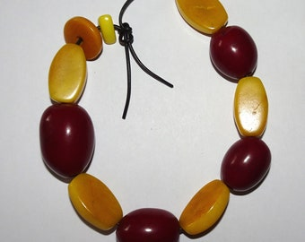 Dark Red Tagua Nut Beads, Yellow Oval Beads, Olive Beads, Organic Beads, Natural Beads, Vegetable Ivory Beads, EcoBeads