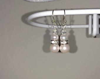 Pale Blush Glass Pearl Earring Pair