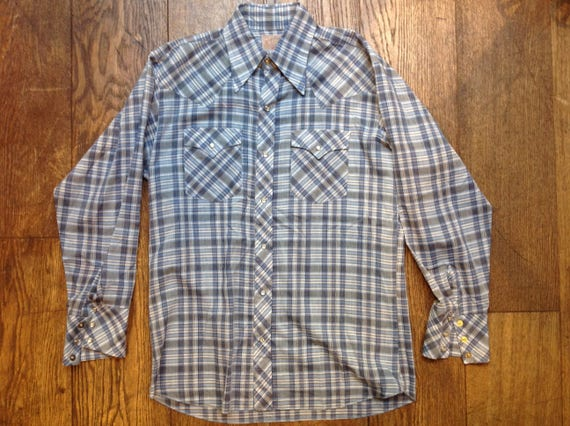"Vintage Caravan blue grey white Western cowboy shirt 46"" chest"