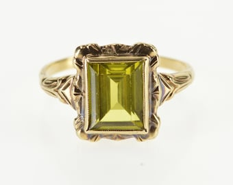 10K Emerald Cut Lemon Quartz Ornate Scroll Trim Ring Size 9 Yellow Gold