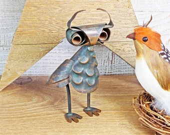 Los Castillo Taxco Copper Owl Hammered Mexico Figurine Sculpture Light Verdi Gris Patina Vintage ca. 1950s - 60s Signed