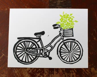 Handprinted Bicycle Linocut Card