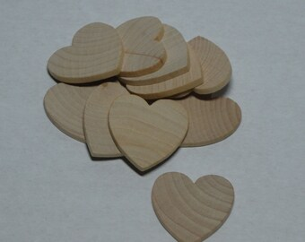 """1-1/4"""" Wood Heart - Set 10 - Unfinished Wood Hearts - 1/8"""" Thick - Wooden Hearts"""