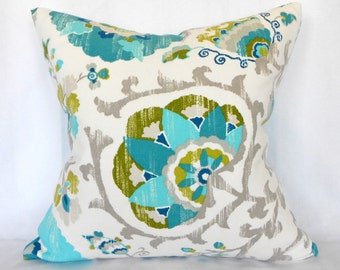 Outdoor Pillows Decorative Pillows Outdoor Pillow Covers ANY SIZE Pillow Cover Turquoise Pillow P Kaufmann Outdoor Silsila Poolside