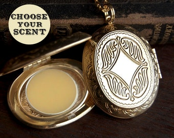 Perfume Locket Necklace with Solid Scent - Victorian Oval Gold or Silver - Choose Your Scent - 2g