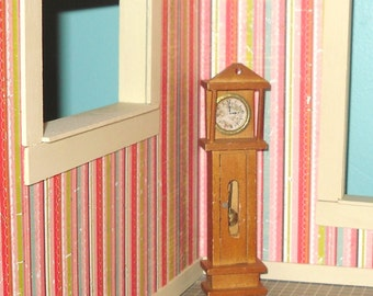 Miniature dollhouse vintage wooden grandfather clock