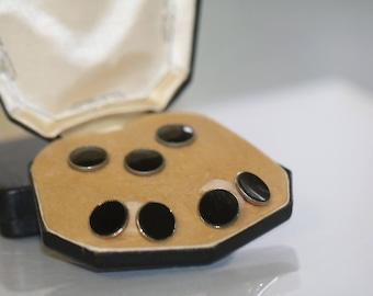 Vintage Krementz  Tuxedo Cuff  Links Shirt Studs Black  Onyx Cufflinks Cuff  Men Groom Gift, Gold Filled Wedding Cufflinks, Original Box